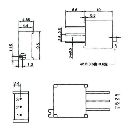 500k ohm 3296w-504 square trimming multi turn ... cts push pull pot wiring diagram