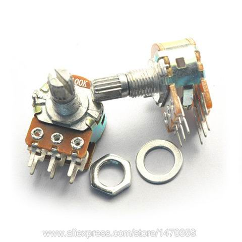 Rotary Potentiometer Variable Resistor Linear Taper Dual Line 6 Pin Washer Nut B500K 500K Ohm WH148 100PCS Lot