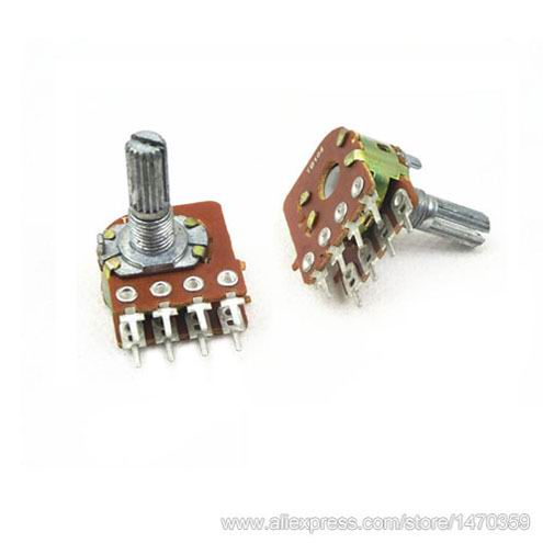 Rotary Volume Potentiometer Pot Linear Taper Duplex Line Rank 8 Pin B100K 100K Ohm WH148 100PCS Lot