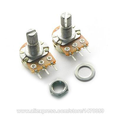 WH148 B100K 100K Ohm Rotary Potentiometer Pot Kit Linear Taper 3 PIN Single Rank Washer Nut 10PCS Lot
