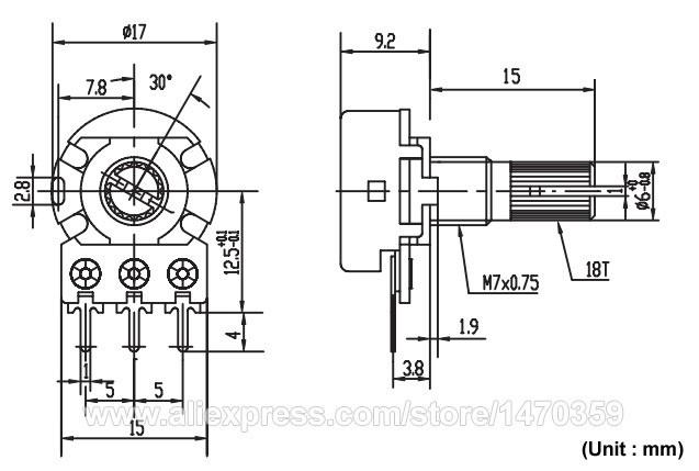 6Pin WH148  B50K Ohm Linear Dual Taper Rotary Potentiometer  10PCS