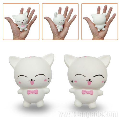 Cat Squishies Kids White Sweet Kawaii Animal Squishy Scented Slow Rising Smile Pet Simulation Decor Toy Squeeze Freeshipping